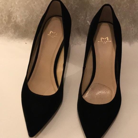 Black Velvet Pumps M Block Heel